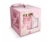 Набор подарочный с ароматом розы: гель для душа, лосьон для тела, мочалка - GRACE COLE Elegant Cleansing